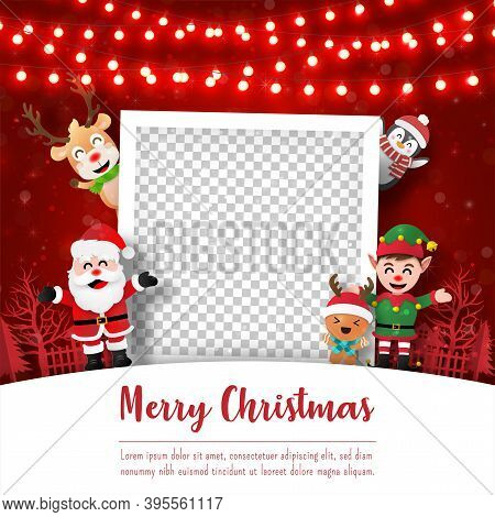 Merry Christmas And Happy New Year, Christmas Postcard Of Photo Frame With Santa Claus And Friends,