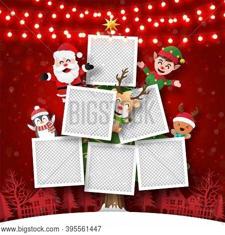 Merry Christmas And Happy New Year, Christmas Postcard Of Photo Frame On Christmas Tree With Santa C