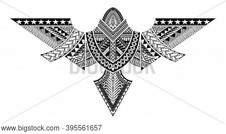 Polynesian Tattoo Pattern Maori, Samoa Ornament Design, Ethic Tribal Template Vector.