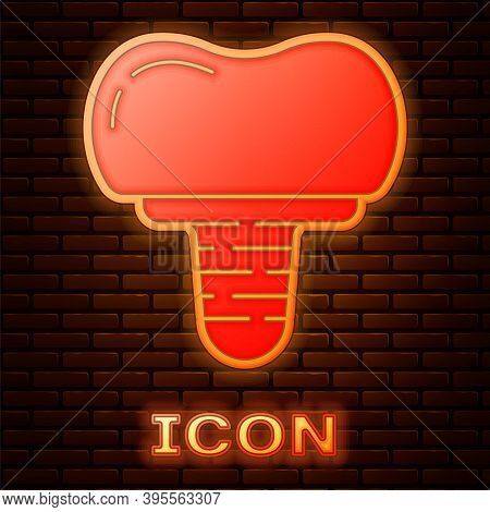Glowing Neon Dental Implant Icon Isolated On Brick Wall Background. Vector