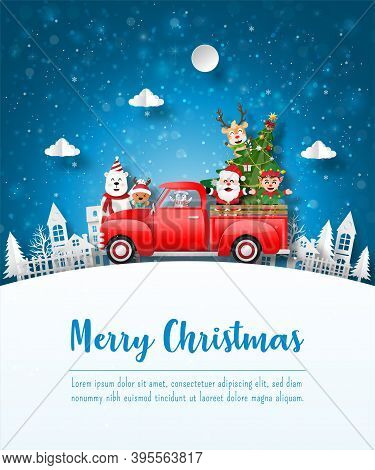 Merry Christmas And Happy New Year, Christmas Postcard Of Santa Claus And Friend With Red Car In The