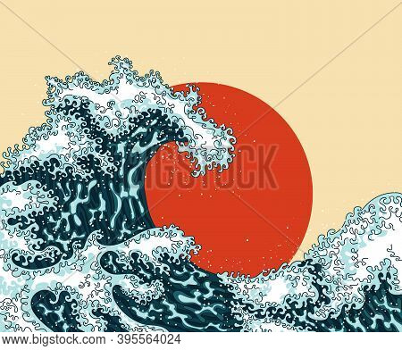 Vintage Japanese Engraving Style Great Wave. Japanese Ocean Or Sea Water Waves Drawing With Sun