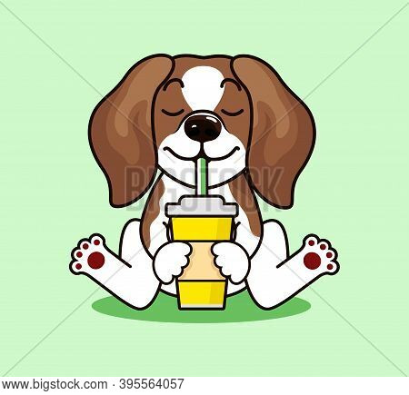 Cute Cool Beagle Puppy With Glass. Dog Head Breed Beagle Sketch Vector Graphics Color Picture