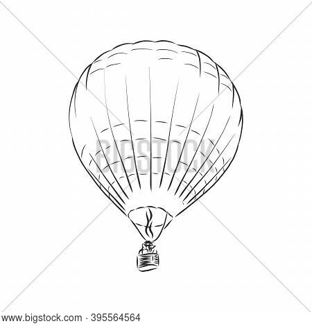 Drawing Illustration Of Hot Air Balloons Floating In The Sky. Represents Freedom, Travel, Mobility,