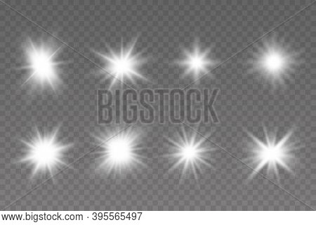 Glow Isolated White Transparent Light Effect Set. Bright Star. Vector Sparkles.  Light Effect Set, L