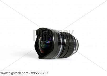 Bangkok, Thailand - November 18, 2020 : Close Up Olympus Wide Angle Lens Isolated On White Backgroun
