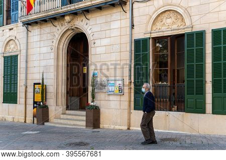Porreres, Balearic Islands/spain; November 17 2020: Facade Of The Town Hall Of The Town Of Porreres,