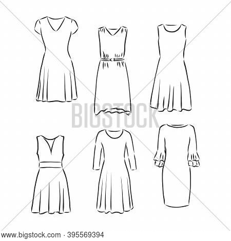 Hand Drawn Vector Clothing Set. Of Trendy Dresses Isolated On White. Dress Vector Sketch Illustratio