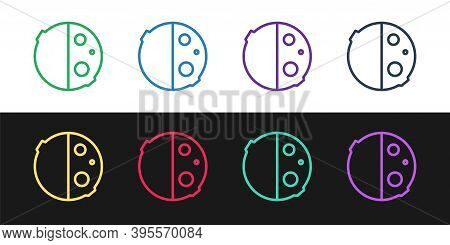 Set Line Eclipse Of The Sun Icon Isolated On Black And White Background. Total Sonar Eclipse. Vector