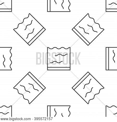 Grey Line Aquarium Icon Isolated Seamless Pattern On White Background. Aquarium For Home And Pets. V