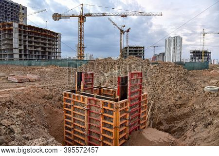 Concrete Pile In Formwork Frame For Construct Stormwater And Underground Utilities, Pump Stations, S