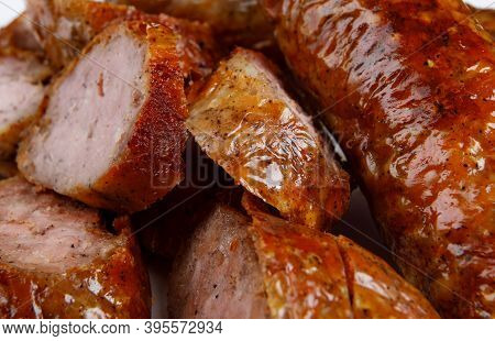 Sliced Pieces Of Fried Homemade Sausage. Sausage.