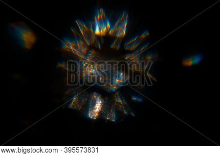 Abstract Blurred Color Light Spots. Lens, Glass Or Crystals Flare Bokeh.