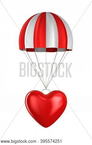 heart and parachute on white background. Isolated 3D illustration