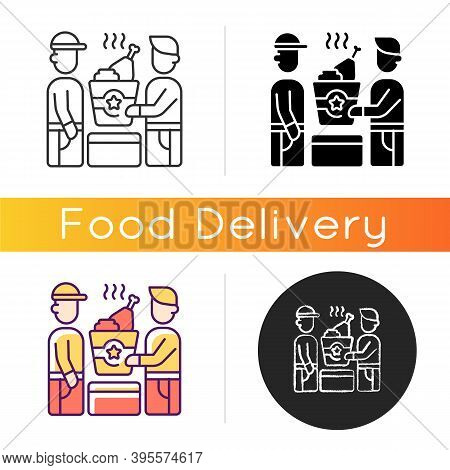 Food Pickup Icon. Restaurant Takeout. Ordering Online Food From Restaurants. Fast-food Options. Orde