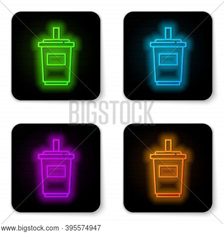 Glowing Neon Line Paper Glass With Drinking Straw And Water Icon Isolated On White Background. Soda