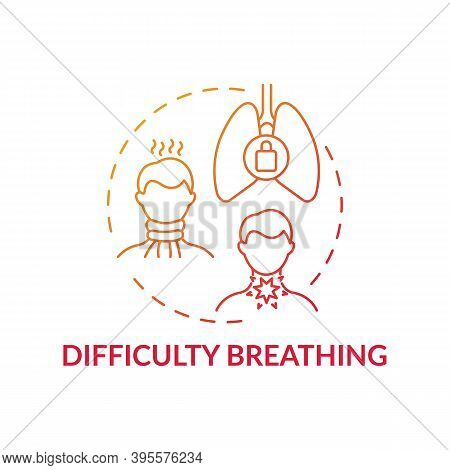 Difficulty Breathing Concept Icon. Sore Throat Complication Idea Thin Line Illustration. Uncomfortab