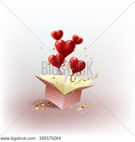 Hearts. 8 March. Pink Red Gift Box With Flying Hearts For Holiday. Gift Box Isometric. Love Is In Th