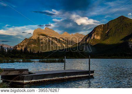Sunset Over Vermillion Lakes. Banff National Park, Alberta, Canada