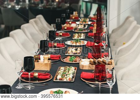 Table Served For Christmas Dinner In A Restaurant, Close Up View