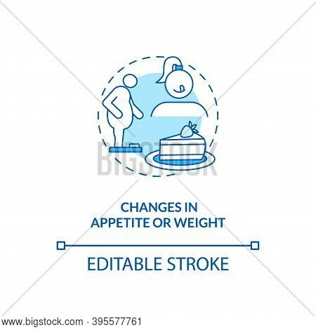Changes In Appetite And Weight Concept Icon. Sad Symptom Idea Thin Line Illustration. Excessive Hung