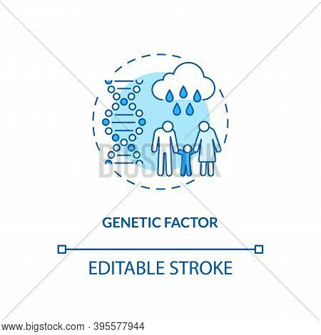 Genetic Factor Concept Icon. Sad Risk Group Idea Thin Line Illustration. Mental Illnesses. Specific