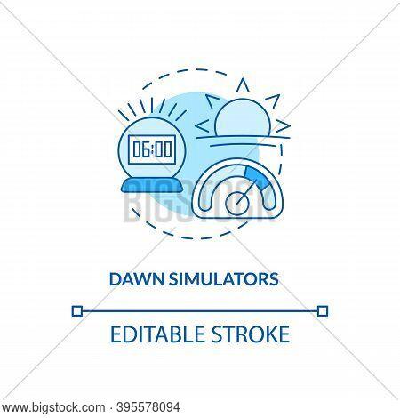 Dawn Simulators Concept Icon. Tips To Ease Sad Idea Thin Line Illustration. Treating Seasonal Affect