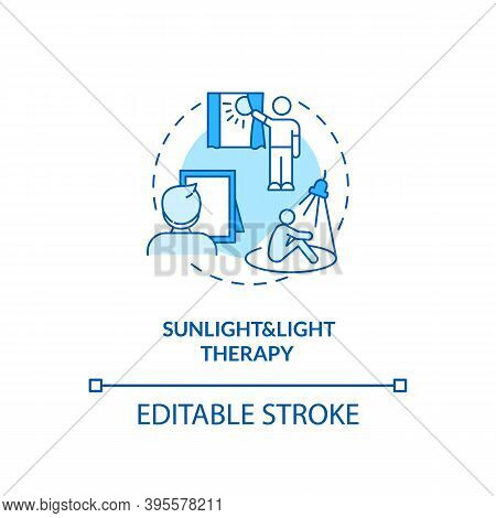 Sunlight And Light Therapy Concept Icon. Sad Treatment Idea Thin Line Illustration. Natural Outdoor