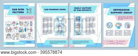 Sad Risk Factors Brochure Template. Sad Warnings Signs. Flyer, Booklet, Leaflet Print, Cover Design