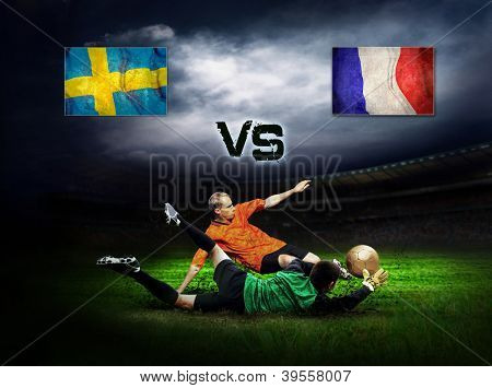 Friendly soccer match between Sweeden and France