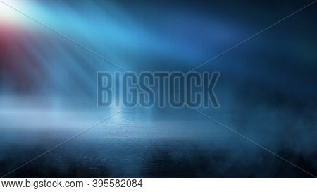 Dark Street Wet Asphalt Reflections Of Rays In The Water Abstract Dark Blue Background Smoke Smog Em