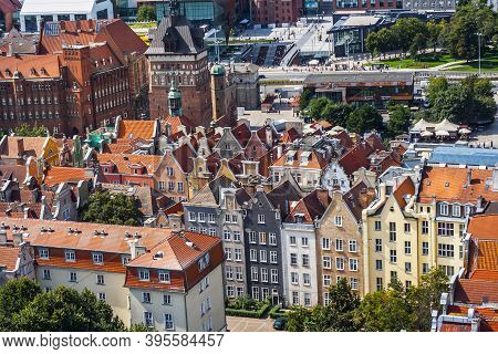 Gdańsk, Poland - 20 August 2019: Aerial View Of Gdansk Old Town From Belltower Of St. Mary's Basilic