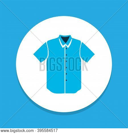 Short Sleeve Shirt Icon Colored Symbol. Premium Quality Isolated Polo Element In Trendy Style.