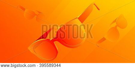Colorful Sunglasses. Abstract Background With 3d Glasses. Product Banner. Art And Fashion. Vector Il