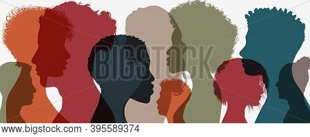 Silhouette Of Diversity People Side. Group Of Multi-ethnic Business Co-workers And Colleagues. Commu