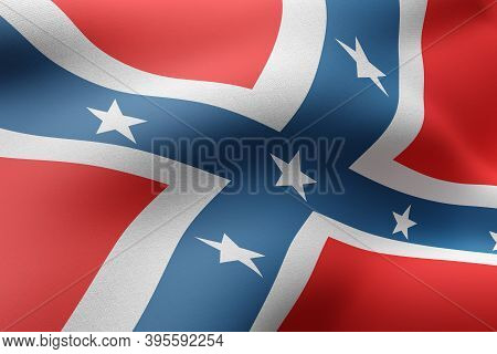 3d Rendering Of A Rebel Confederated America Flag Waving