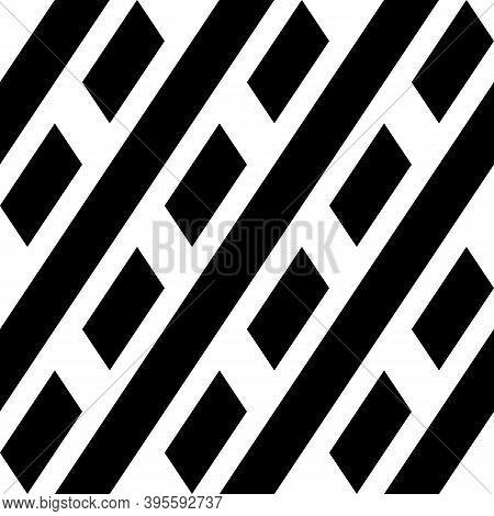Seamless Vector. Diagonal Lines, Parallelograms Background. Tilted Stripes, Quadrangles Backdrop. Ge