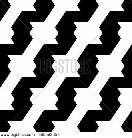 Seamless Vector. Zigzag Lines Background. Jagged Stripes Pattern. Wavy Motif. Geometric Waves Orname