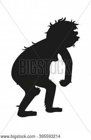 Ancient Monkey Or Homo Erectus Black Silhouette, Human Ancestor Cartoon Vector Illustration. Tailles