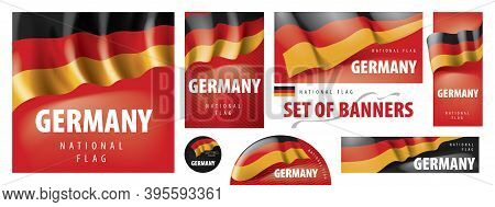 Vector Set Of Banners With The National Flag Of The Germany