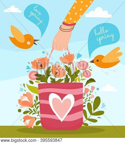 Concept Of Spring Day. Human Hand Holding Basket With Colorful Flowers In Blossom. Birds With Speech