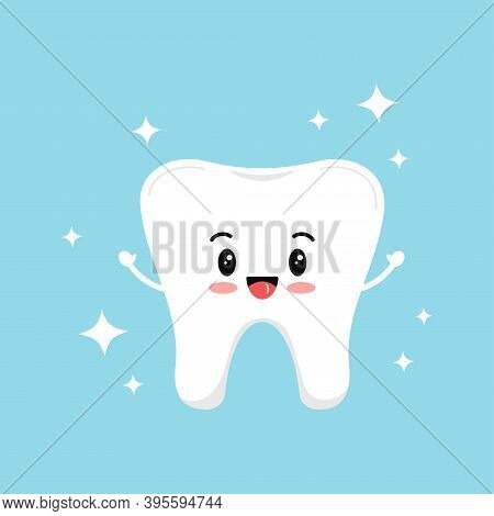 Cute Strong Tooth Molar With Sparkles. Flat Design Cartoon Style Smiling Healthy Character Vector Il