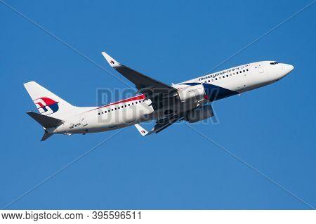 Hong Kong / China - December 1, 2013: Malaysia Airlines Boeing 737-800 9m-mse Passenger Plane Depart