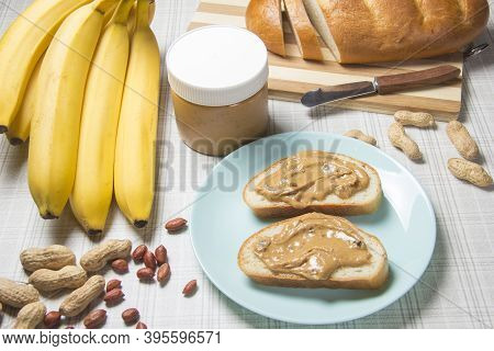 Peanut Butter, Loaf, Banana . Breakfast With Peanut Butter. Healthy Snack - Vegetarian Bread Loaf Wi