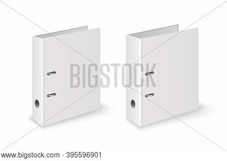 Vector 3d Closed Realistic White Blank Office Binder File With Metal Rings For A4 Paper Sheet Closeu
