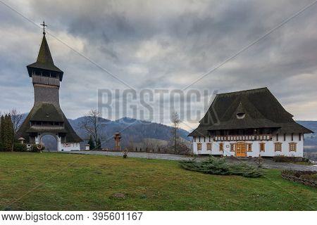 Traditional Maramures Wooden Architecture Of Barsana Monastery, Romania