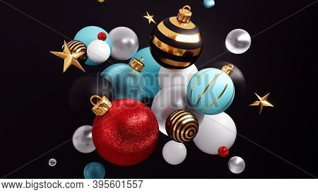 Happy New Year Ackground With Christmas Decorations 3d Rendering.