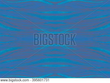 Seamless Animal Texture. Watercolor Safari Ornament. Zebra Fur. Black Abstract Stripes. Blue Jungle