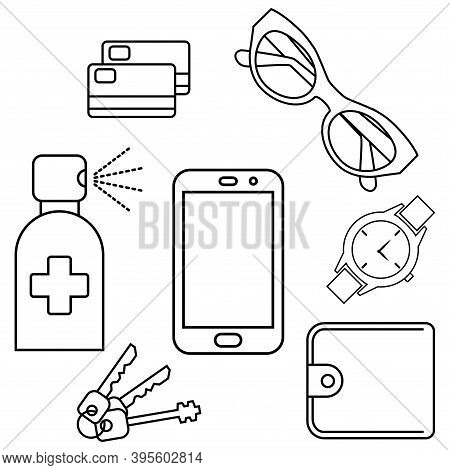 Disinfection Of Phone, Wallet, Keys, Credit Card, Sun Glasses And Hand Watches. Sanitizing Personal