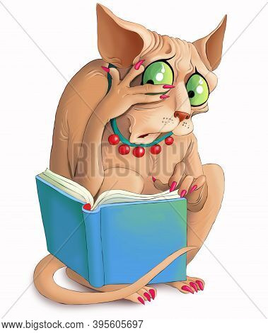 Illustration. A Funny Sphinx Cat Looks Emotionally Into A Book. Confusion And Surprise On His Face.